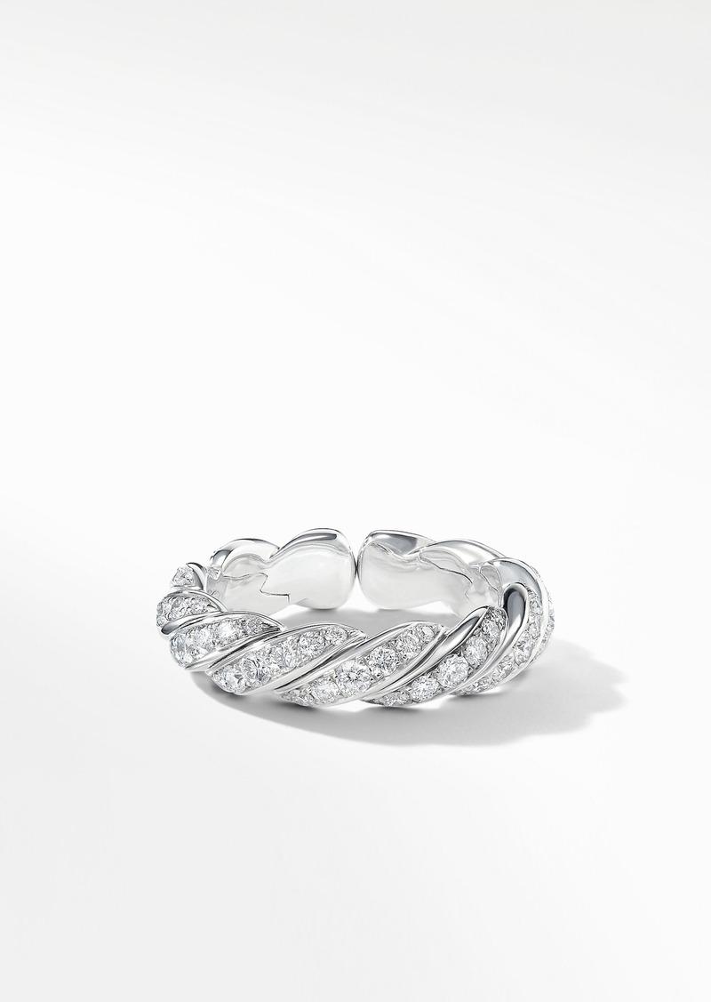David Yurman Pave Flex Band Ring with Diamonds and 18K White Gold