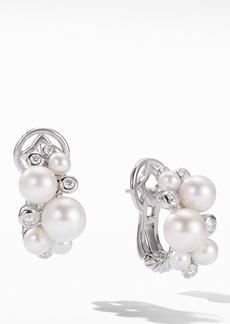 David Yurman Pearl & Diamond Cluster Earrings