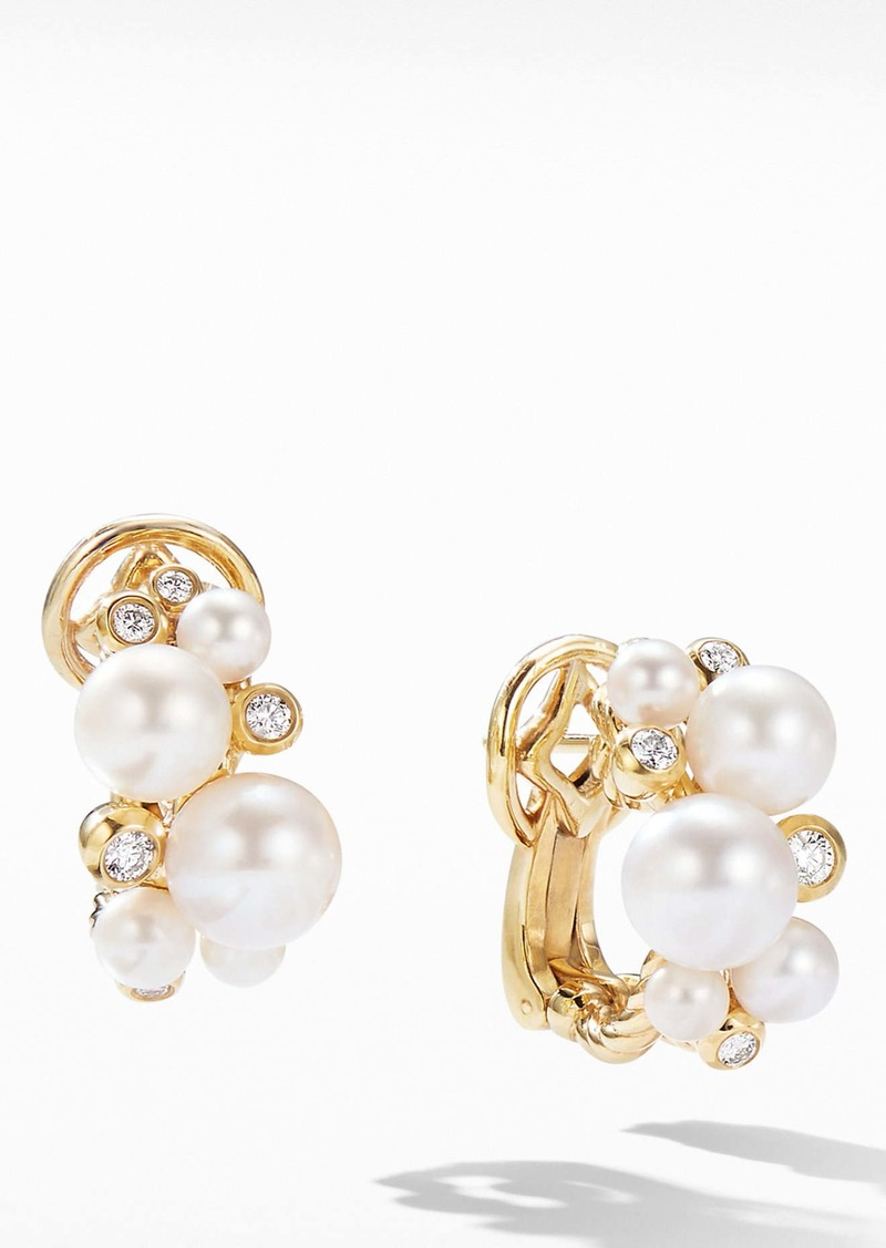 David Yurman Pearl Cluster Earrings in 18K Yellow Gold with Diamonds