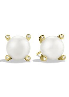 David Yurman Pearl Earrings with Diamonds in Gold