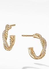 David Yurman Petite Infinity Huggie Earrings in 18K Gold with Pavé Diamonds