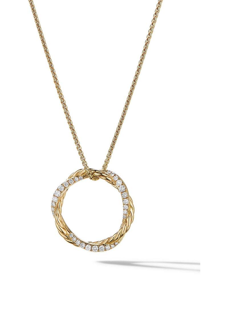 David Yurman Petite Infinity Pendant Necklace in 18K Gold with Pavé Diamonds