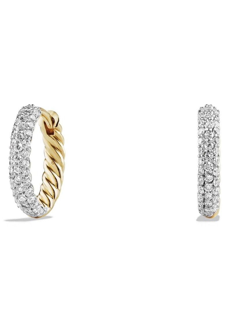 David Yurman 'Petite Pavé' Earrings with Diamonds in 18K Gold