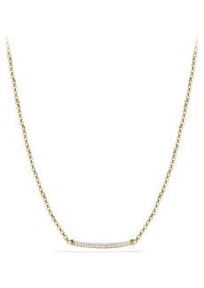 David Yurman 'Petite Pavé' Metro Chain Necklace with Diamonds in Gold