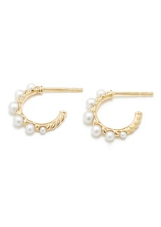 David Yurman Petite Perle Graduated Pearl Hoop Earrings in 18K Gold