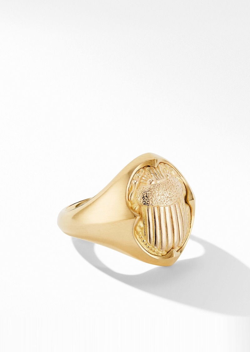 David Yurman Petrvs® Small Scarab Pinky Ring in 18K Yellow Gold