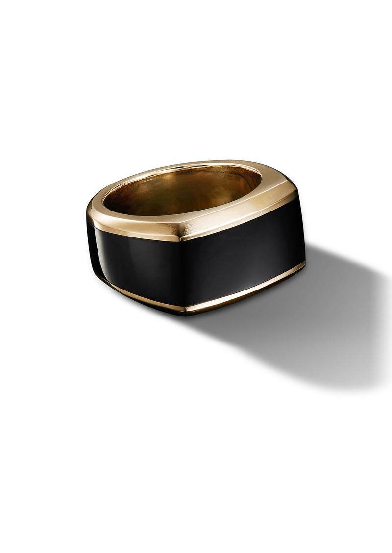 David Yurman Roman 18K Gold Signet Ring with Black Onyx