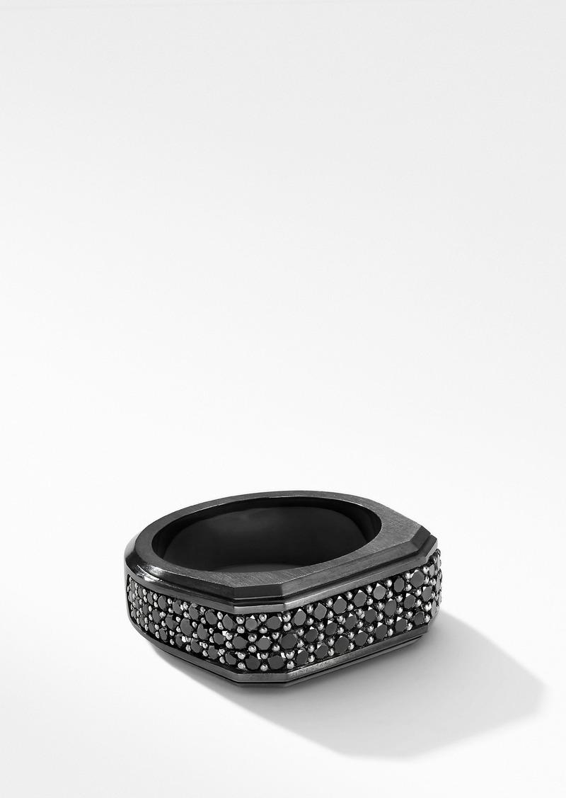 David Yurman Roman Signet Black Titanium Ring with Black Diamonds