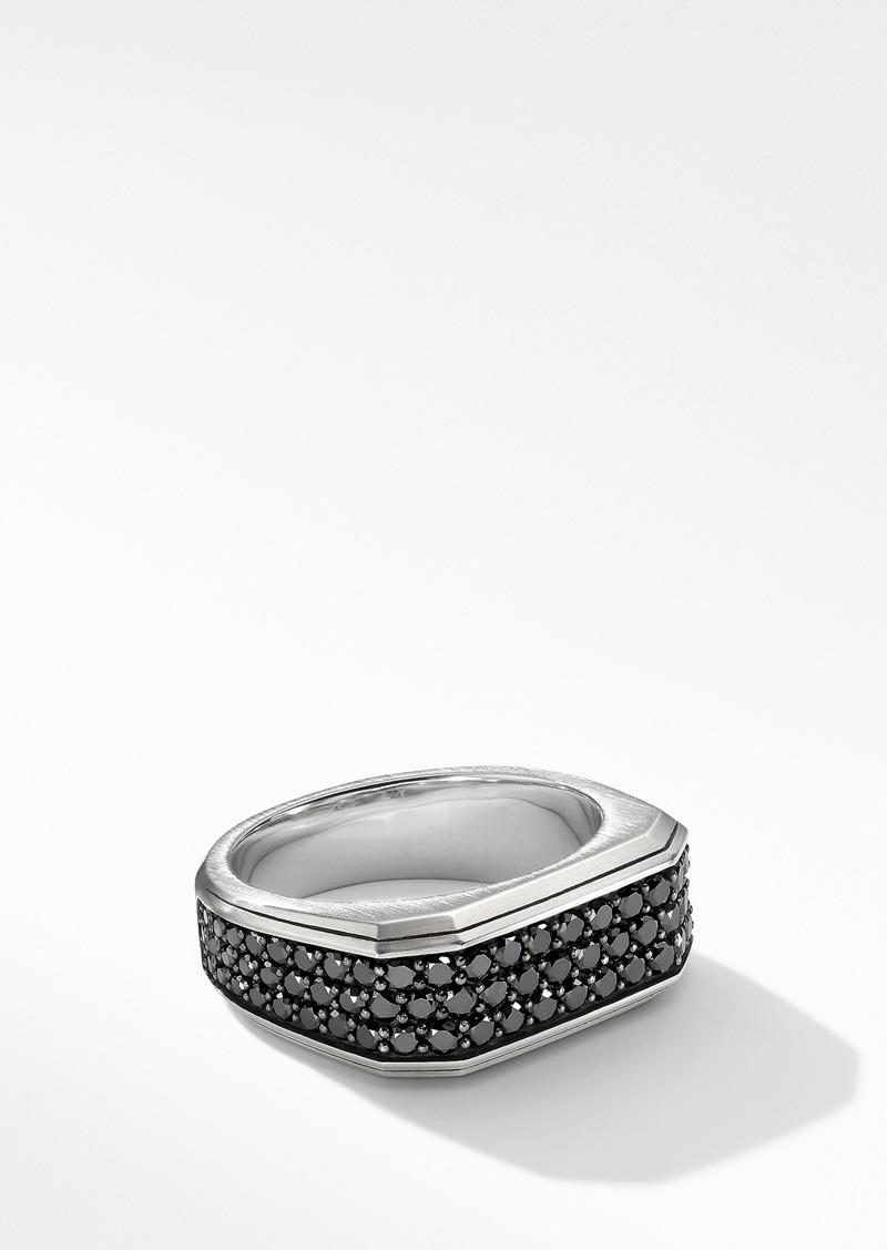 David Yurman Roman Signet Ring with Black Diamonds