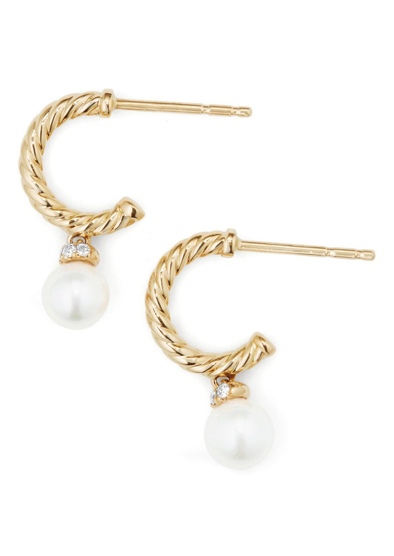7994ec307c464 Solari Hoop Earrings with Diamonds & Pearls in 18K Gold