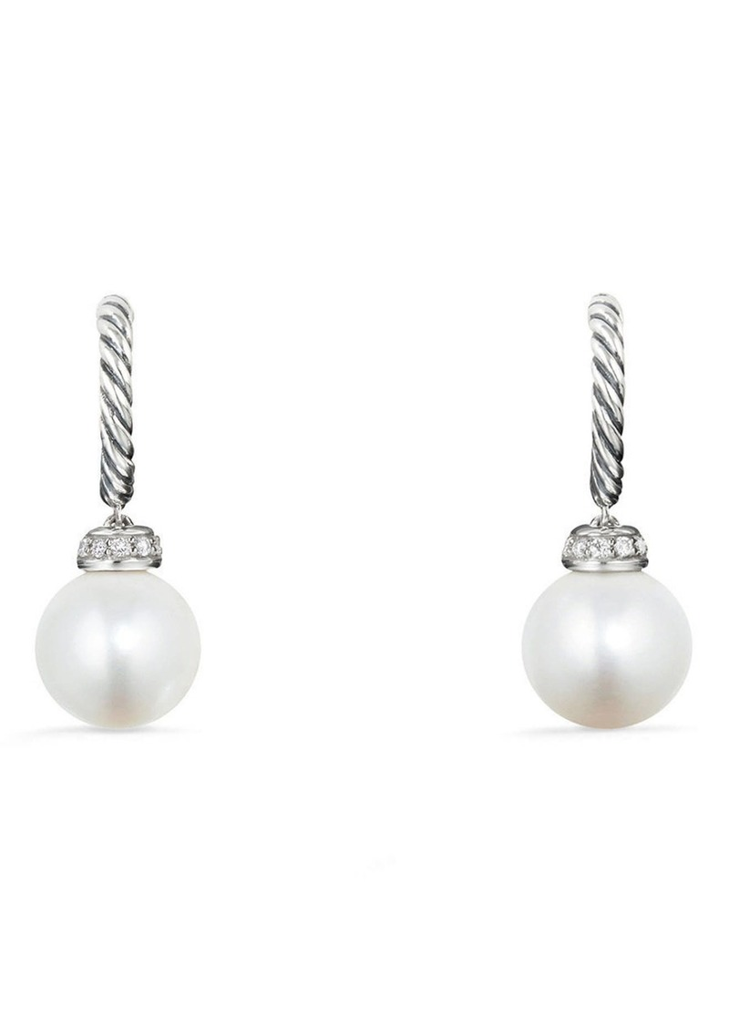 David Yurman Solari Hoop Earrings with Diamonds in Silver/Diamond/Pearl at Nordstrom