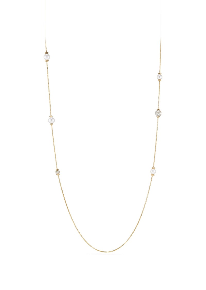David Yurman Solari Long Station Necklace with Pearls & Diamonds in 18K Yellow Gold