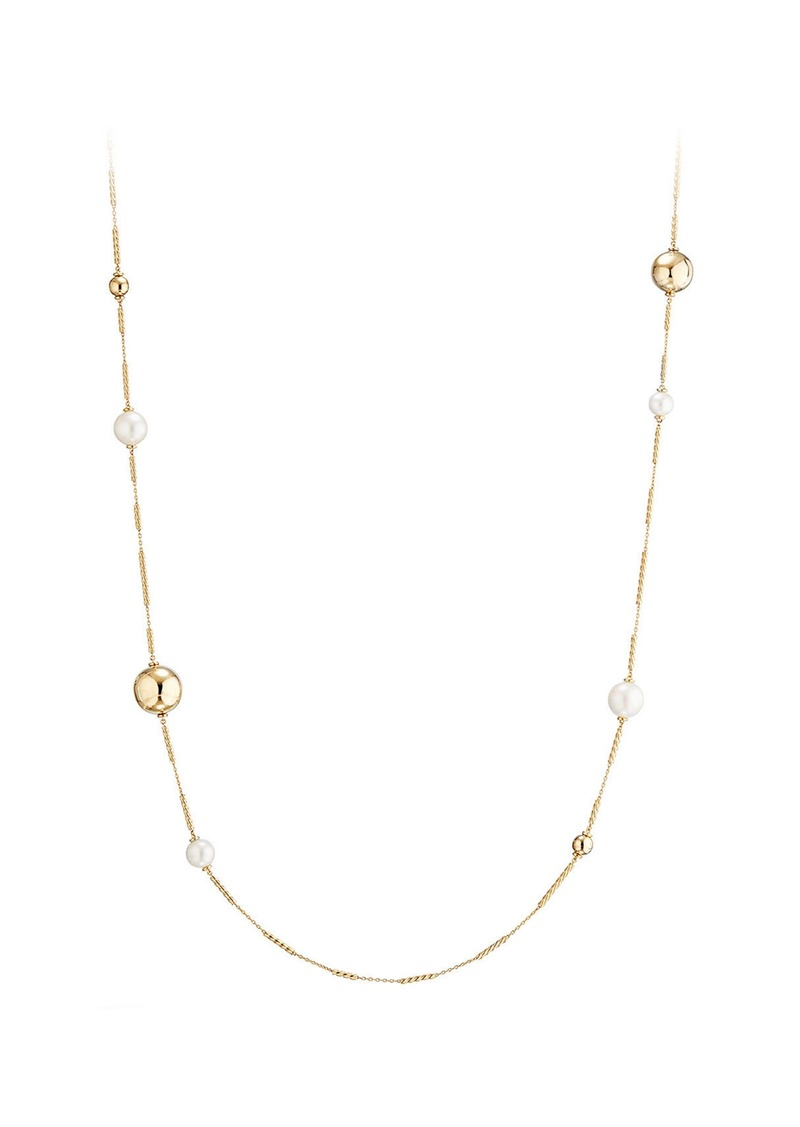 David Yurman Solari Long Station Necklace with Pearls in 18K Gold