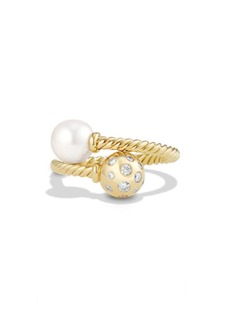 David Yurman 'Solari' Ring with Pearls and Diamonds in 18K Gold