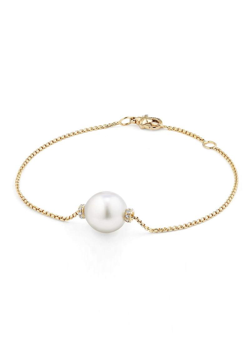 David Yurman Solari Single Station Bracelet in 18k Gold with Diamonds & Pearl