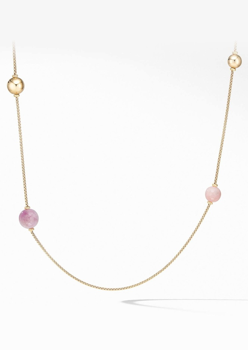 David Yurman Solari XL Station Chain Necklace in 18K Yellow Gold with Kunzite, Morganite and Pink Opal