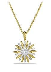 David Yurman Starburst Small Pendant with Diamonds in Gold on Chain