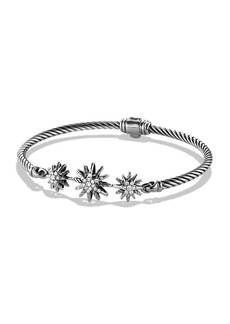 David Yurman Starburst Three-Station Cable Bracelet with Diamonds