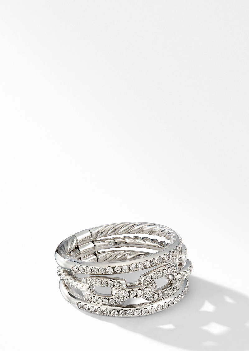 David Yurman Stax 3-Row Chain Link 18k White Gold Ring with Diamonds
