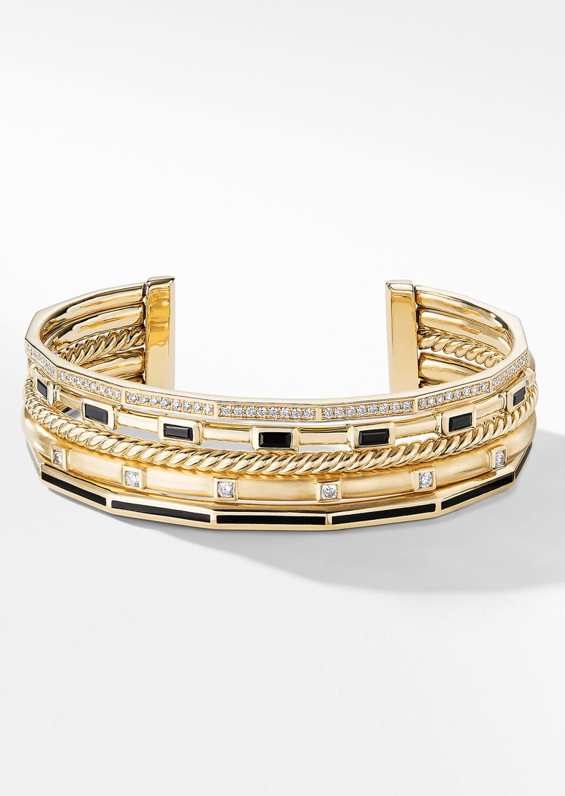 David Yurman Stax Collection Cuff with Diamonds & Black Spinel in 18K Gold, 16.5mm