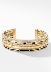 David Yurman Stax Collection Cuff with Diamonds & Black Spinel in 18K Gold
