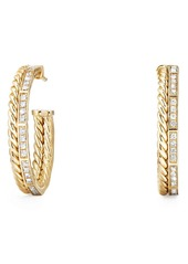 David Yurman Stax Hoop Earrings with Diamonds in 18k Gold in Yellow Gold at Nordstrom