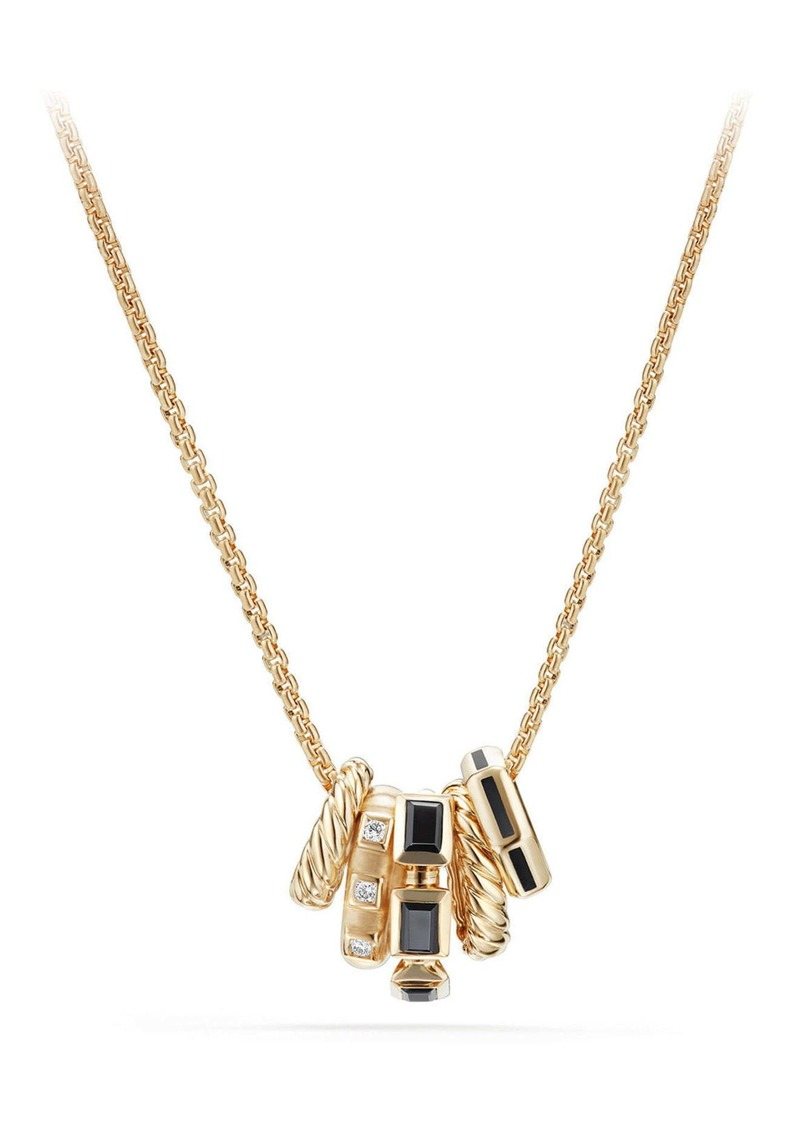 David Yurman Stax Pendant Necklace with Diamonds in 18K Gold