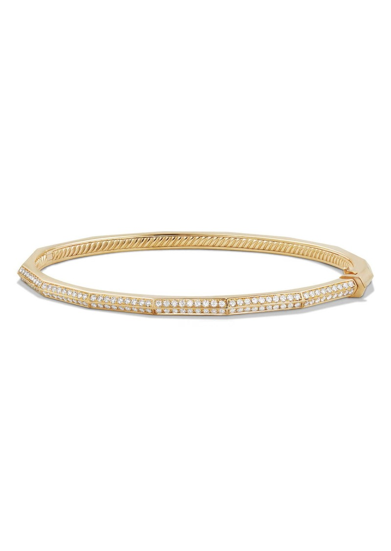 David Yurman Stax Single-Row Faceted 18K Gold Bracelet with Diamonds, 3mm