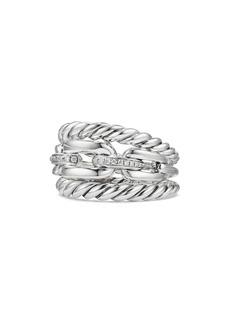 David Yurman Wellesley Three-Row Ring with Diamonds
