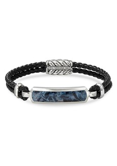 David Yurman Sterling Silver & Leather Exotic Stone Bar Station Bracelet with Pietersite