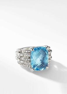David Yurman Tides Blue Topaz Statement Ring with Diamonds