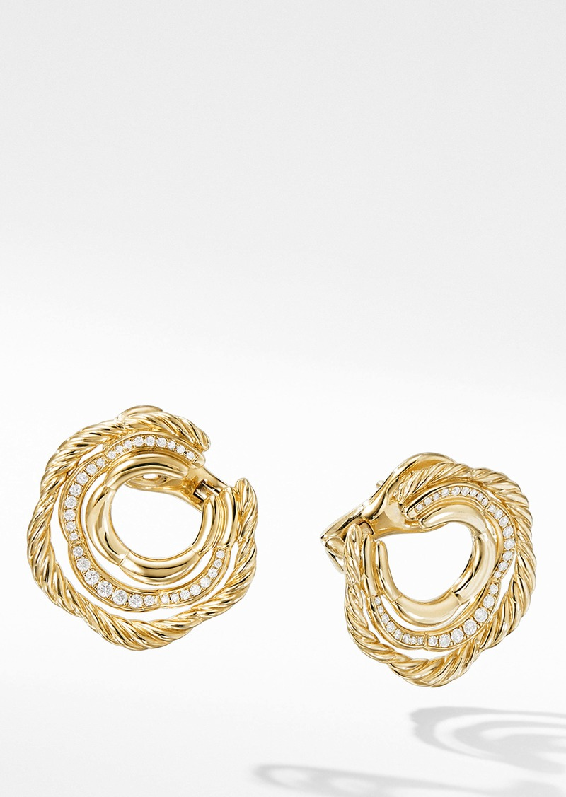 David Yurman Tides Huggie Hoop Earrings with Pavé Diamonds