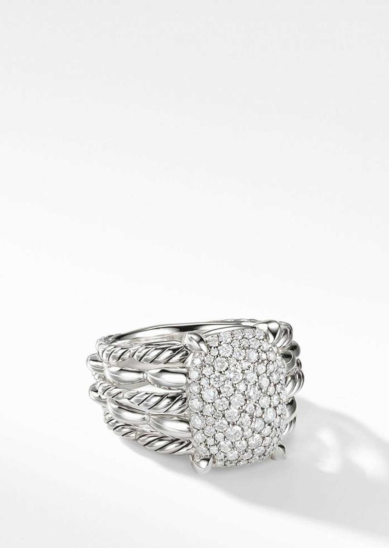 David Yurman Tides Statement Ring with Pavé Diamond Plate