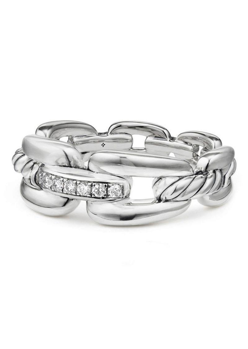 David Yurman Wellesley Chain Link Ring with Diamonds