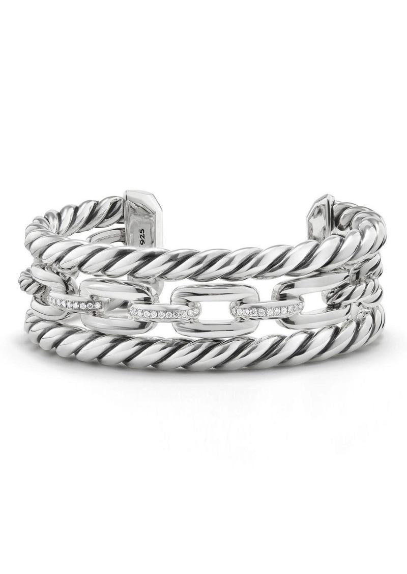 David Yurman Wellesley Link Chain Three-Row Cuff with Diamonds