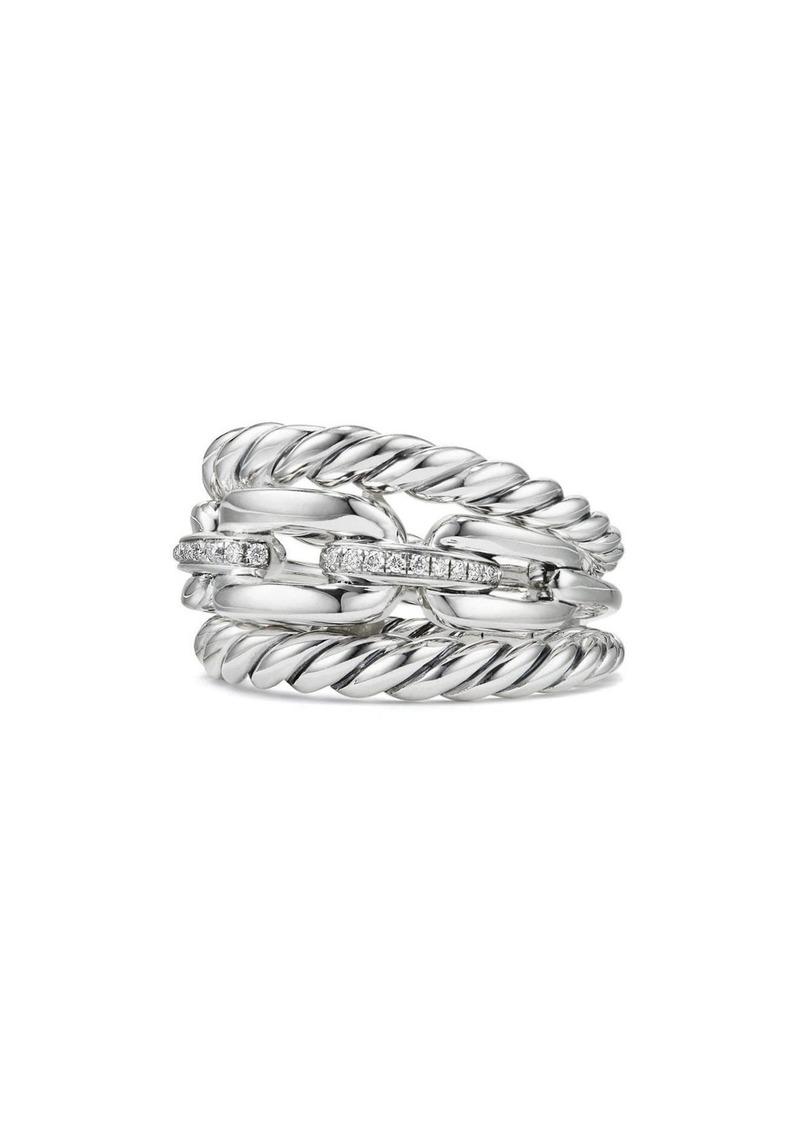 David Yurman Wellesley Three-Row Ring with Diamonds