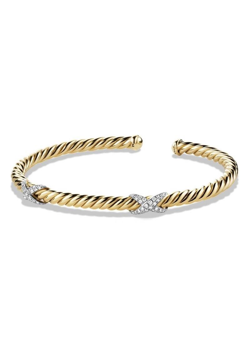 X Bracelet With Diamonds In 18k Gold David Yurman