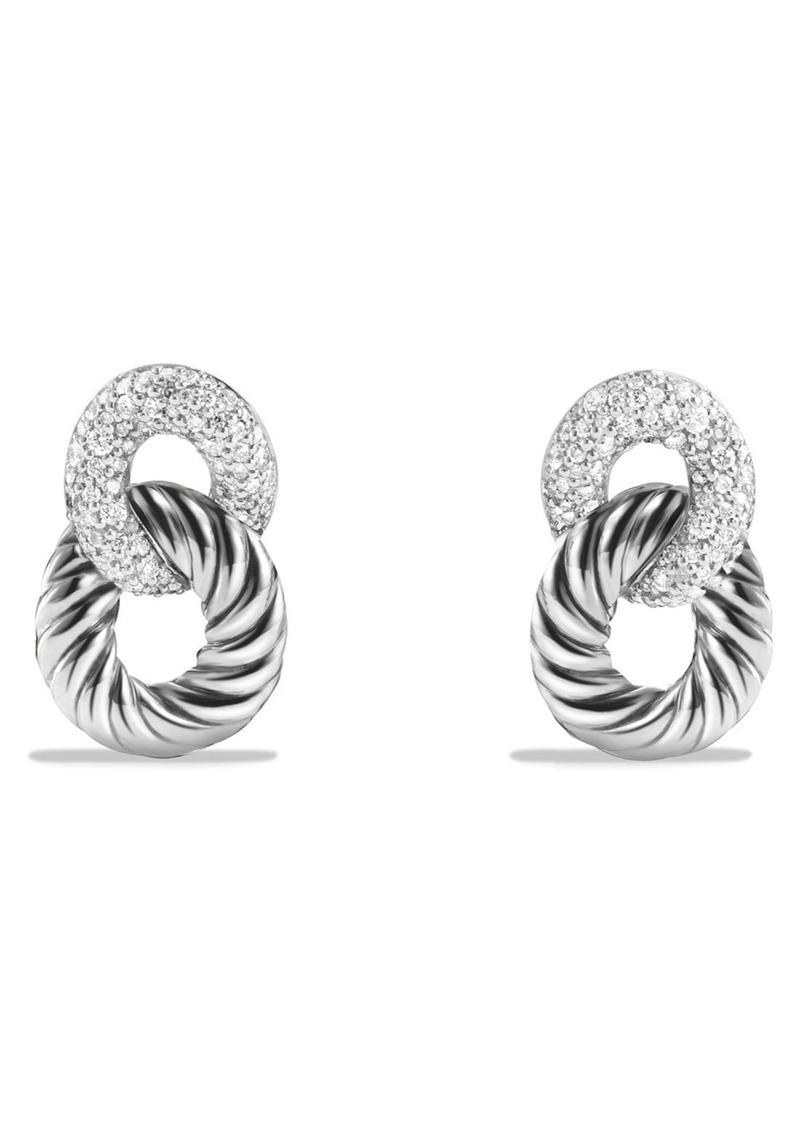 David Yurman Belmont Curb Link Drop Earrings with Diamonds