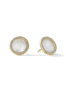 David Yurman DY Elements® Button Earrings In 18K Yellow Gold With Mother-Of-Pearl & Diamonds