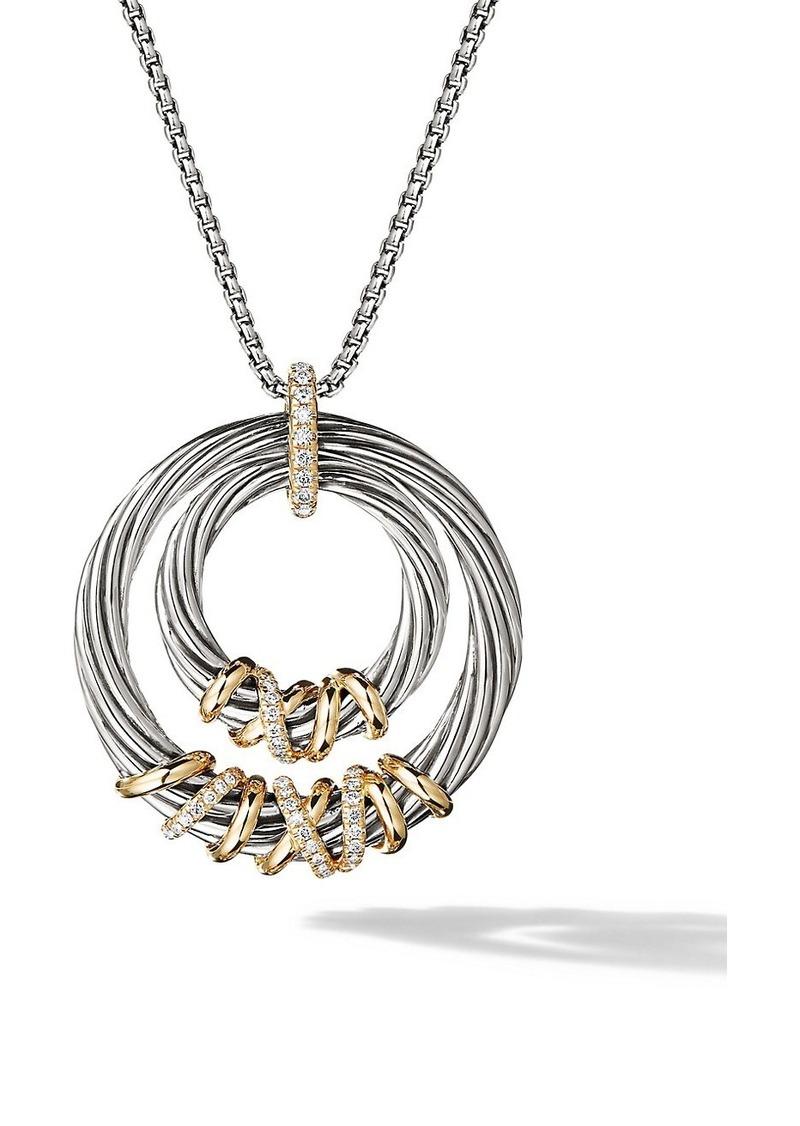 David Yurman Helena Pendant Necklace With 18K Gold & Diamonds
