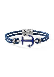 David Yurman Maritime Sterling Silver, Lapis Lazuli & Braided Blue Leather Anchor Station Bracelet