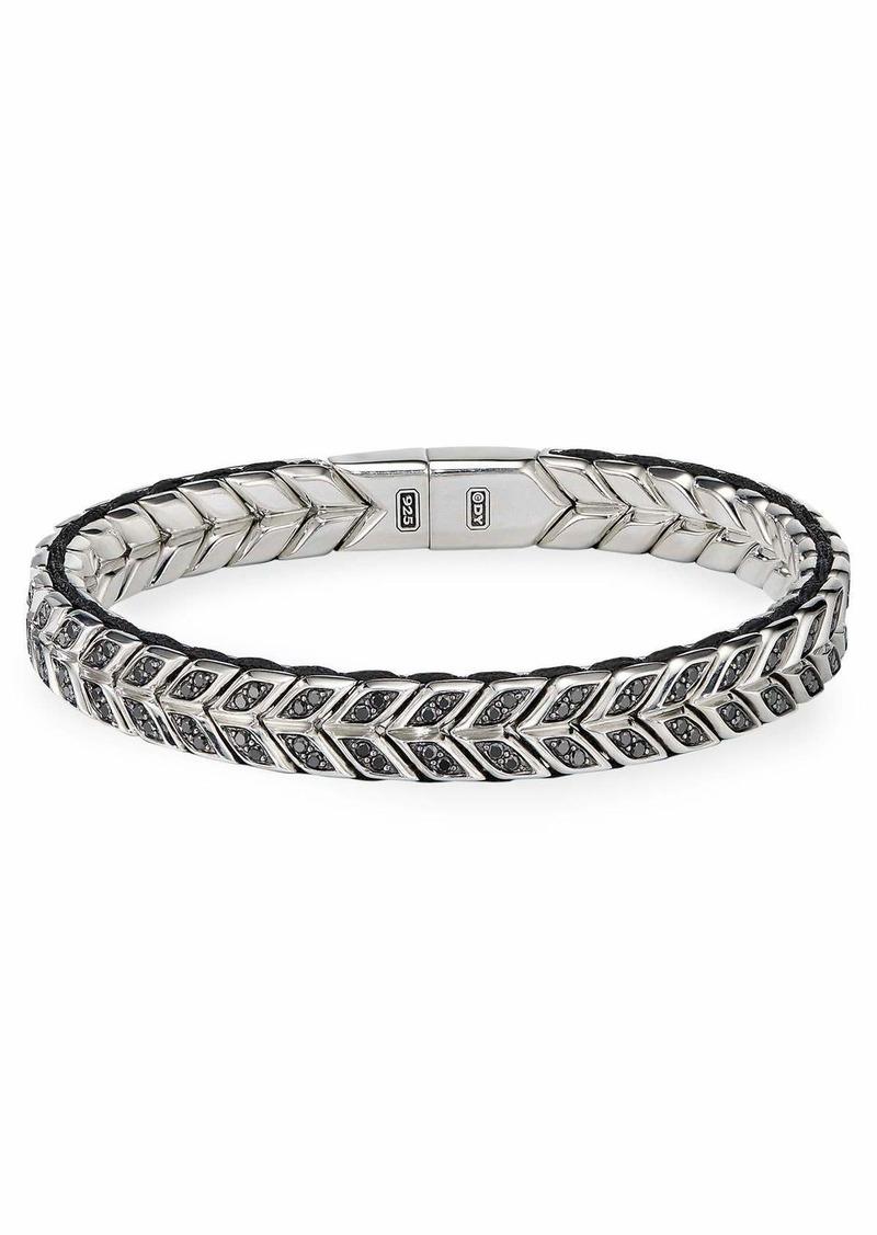 David Yurman Men's 9mm Chevron Silver Bracelet w/ Black Diamond Insets  Size L