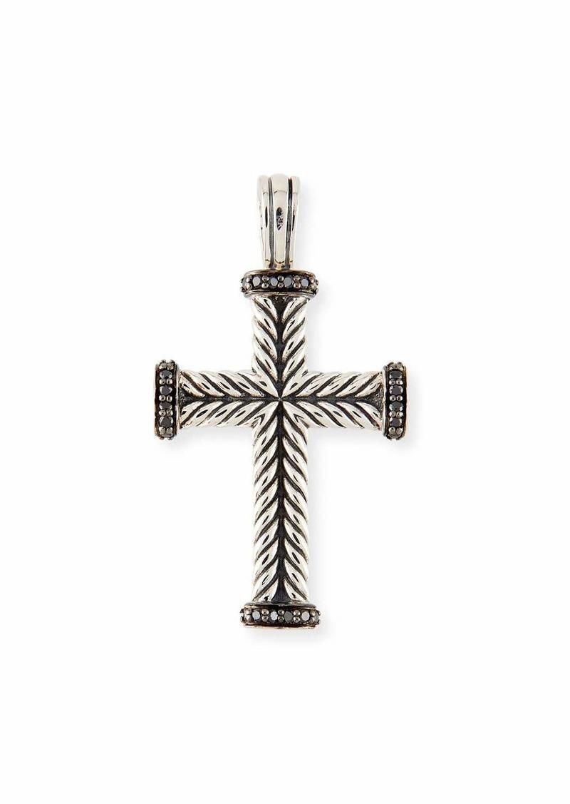 David Yurman Men's Chevron Cross Pendant with Black Diamonds