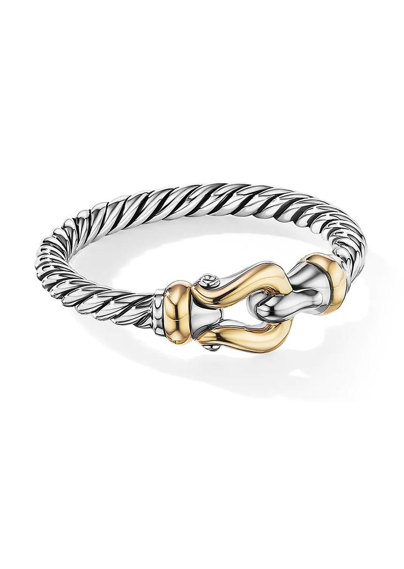 David Yurman Petite Buckle Ring With 18K Yellow Gold