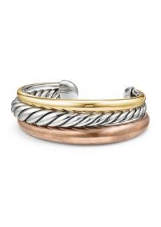 David Yurman Pure Form Sterling Silver & Bronze Three-Row Cuff