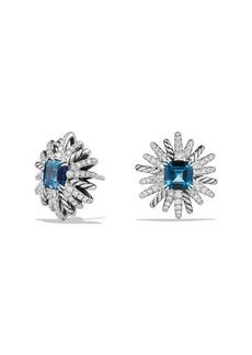 David Yurman Starburst Stud Earrings with Diamonds in Sterling Silver