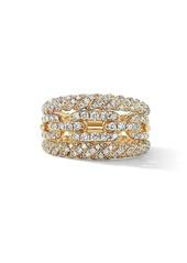 David Yurman Stax 18K Yellow Gold & Diamond Three-Row Ring