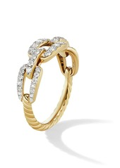David Yurman Stax 18K Yellow Gold & Pavé Diamond Chain Link Ring