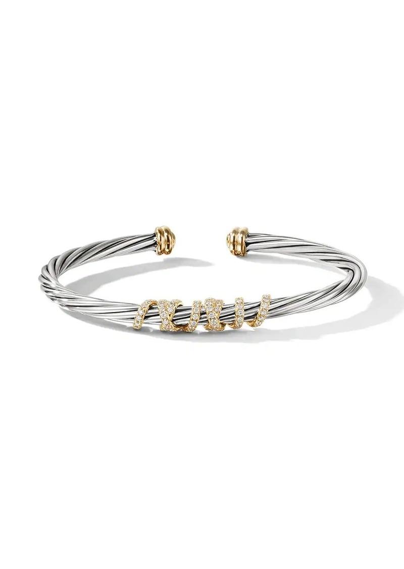 David Yurman Sterling silver and 18kt yellow gold Helena centre station diamond cuff