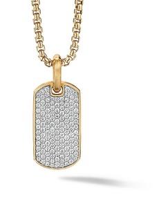 David Yurman The Pavé Collection 18K Yellow Gold & Pavé Diamond Enhancer Tag Pendant